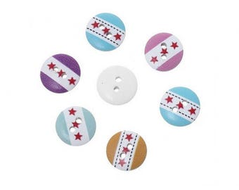 50 multicolored 3 stars 15mm wooden buttons