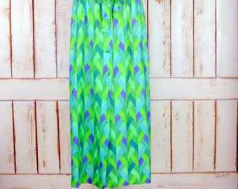 60s vintage green chevron mod print long maxi skirt/button front high waisted skirt