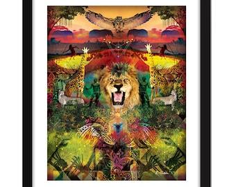 FREE SHIPPING,African Art, Affordable Art, Abstract Art, unique Art, Digital Art, Safari art, geometric art, colourful art