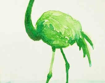 Postcard, flamingo, green bird, original watercolor, handmade, animal art, gift for special one