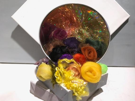"gold art batt KIT, Spinning kit, fiber ""Black-eyed Susan"" Nuno Needle felting wool, Gold black brown yellow purple green topaz, blending kit"