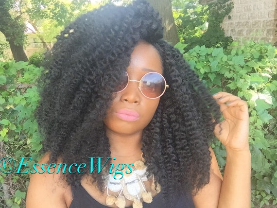 Essence Wigs Amazing Kinky Wave Twist out Natural Hair Lace Wig Full Lacefront Wig Cap Unit Textured  Premium Fibers 4a 4B