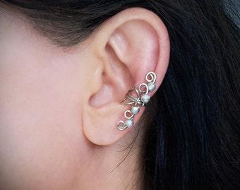 Silver Ear Cuff Glitter Silver Beads Ear Wrap