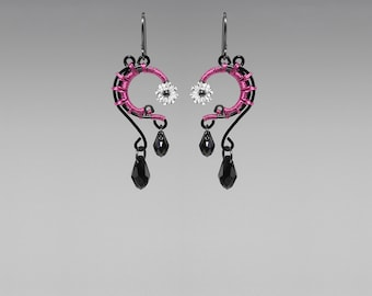 Swarovski Crystal Earrings With Bold Hot Pink Wire Wrapping, Crystal Earrings, Space Jewelry, Industrial Jewelry, Adrastea II v8