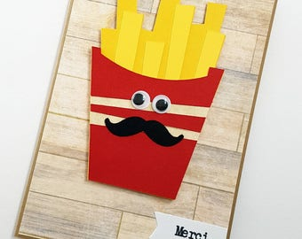 Mr. French Fries. French Thank You Card. French Greeting Card.