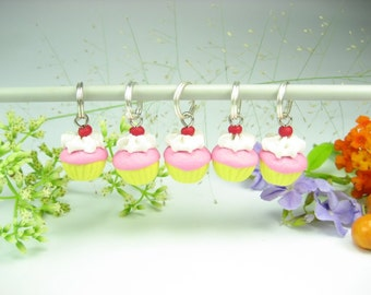 Cherry Pink Cupcake Stitch Markers, food charms, polymer clay, pink cupcake charm, miniature food, gift for knitters, knitting accessories