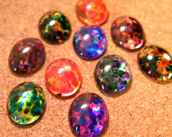 8 cabochons glass - 18 mm - translucent stick - domed - back-plate B42