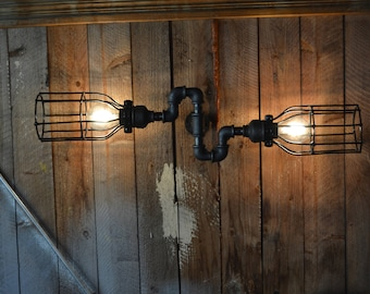 Wall sconce art,Industrial Lighting Pipe Cages, Steampunk Bathroom vanity light - Wall sconce light fixture, industiral black pipe light
