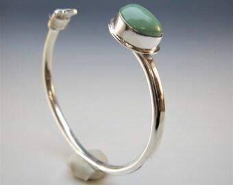 Silver Cuff, Variscite Cuff, Silver Turquoise Cuff, Silver Stacking Cuff, Statement Cuff, Sterling Silver Bracelet, Wire Wrapped Cuff