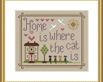 Home Is Where The Cat Is Cross Stitch FULL KIT