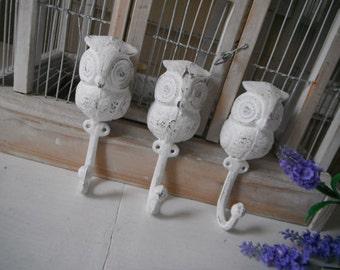RESERVED whimsical coat hooks nursery owl decor white shabby chic jewelry hanger childrens room whimsy cast iron painted hooks