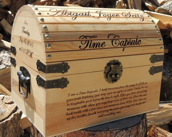 Time Capsule First Birthday / Keepsake Box Personalized Wood Burned Custom Pyrography