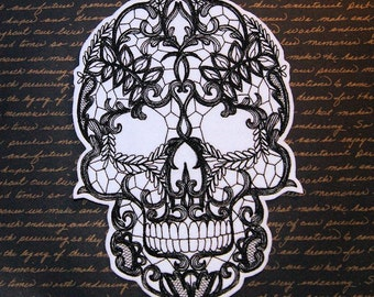 Giant Gothic Lace Skull Embroidered Iron On Patch MTCoffinz - Choose Color/Size