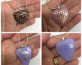 Fused glass heart pendants, glass necklaces