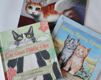 1 set of 3 Vintage Cat Books - Angel Cat, Cat Goes Fiddle-I-fee, Kittens, Kittens, Kittens - Cat Lover Gift, Instant Collection, Kitty Cat