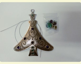 DIY Christmas Tree Decoration, with Purple Velvet Swarovski Stones.