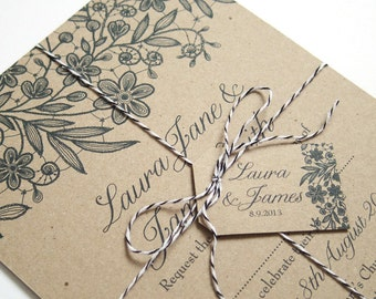 Kraft Lace Wedding Invitation, Printed Lace, Lace Invitation, Kraft Invite, Rustic Wedding Invitation, Wedding Lace, Recycled Invite, SAMPLE