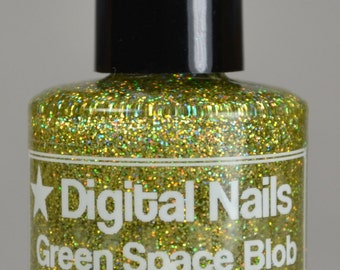 Green Space Blob : an insane sparklefest of golden peridot green holographic glitter nail lacquer by Digital Nails