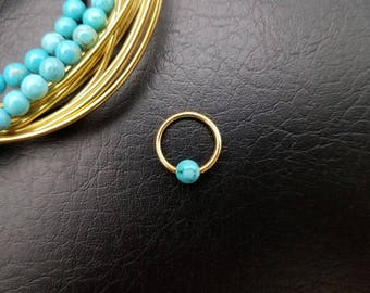 """16g 14g 3/8"""" 10mm Gold Turquoise Stone Captive Bead Ring Small Nostril Hoop Daith Helix Ring Tragus Cartilage Septum Lip Stainless Steel"""