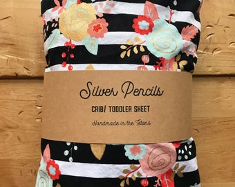Floral Striped Crib Sheet, Metallic Gold, Black, White, Bedding, Nursery Decor, Baby Shower Gift