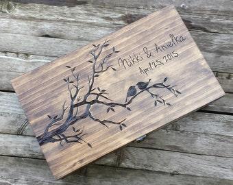 Rustic Wedding wine box, Love birds, Custom Double Wine Box, First Fight Box, Card box, Memory Box, anniversary gift, wedding gift
