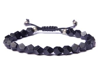 Black Onyx Herren Armband - schwarze Perlen Armband für Männer - Herren Schmuck - matt schwarz Onyx Kunstleder verstellbare Armband für Männer