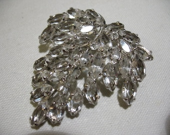 Vintage CARL ART Sterling Silver and Crystal Leaf Brooch