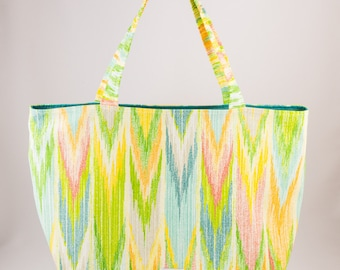 Shopping bag, Market bag, Tote bag, Washable tote, Chevron, Teal blue, Green, White, Pink, Blue, Yellow, Reusable, Made in Quebec