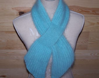 """The BURLE"" scarf hand knitted angora clear Mint"
