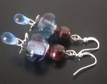 Earrings: Garnet and ocean blue
