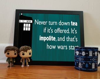 Doctor Who Tea Quote - Teal - 11x14