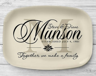 Ivory Monogram Platter, Personalized Melamine Platter, Personalized Serving Platter, Wedding Platter, Personalized Serving Tray