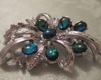 Blue/green and Silver Brooch