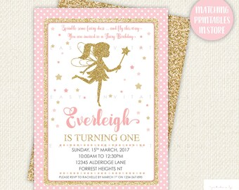 Fairy Birthday Invitation, fairy birthday party invitations, fairy birthday, First Birthday Invitation, pink and gold, fairy invite