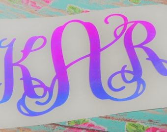 Mermaid Colors | Color changing Monogram Vinyl Decal -  Car Truck Decal - Yeti Decal  | Opal | Mint Blue Purple Pink Color Shift