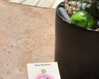 Dot Card Handmade Watercolor Paint Silver Rosefinch Mica