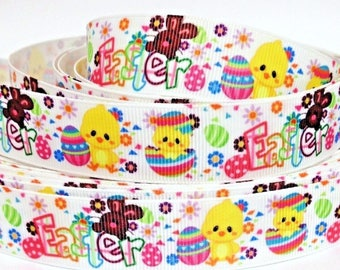 """Grosgrain Ribbon 7/8"""" Easter Bunny & Chicks Ea8 Printed - Sold by the yard - USA SELLER"""