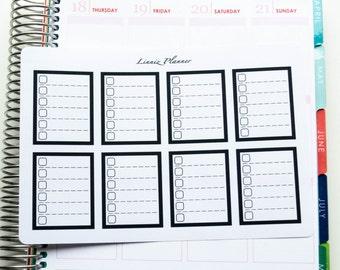 Black Checkboxes (matte planner stickers, fits perfect in Erin Condren Life Planner Vertical)