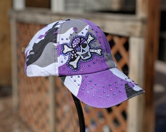 Purple Camo Pirate BLING Cap