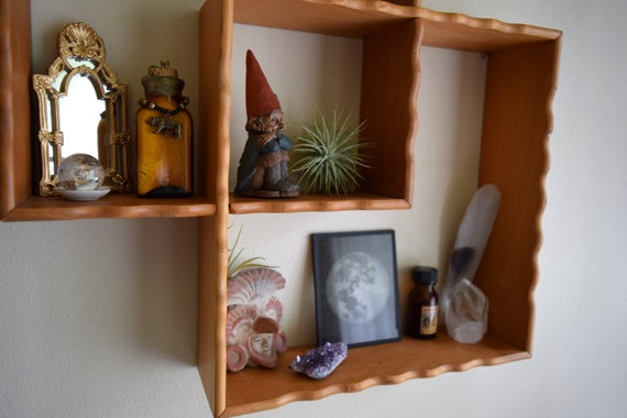 Vintage Square Wood Shelf / Shadowbox ~ Boho, Ecletic, Geometric, Natural, Curio