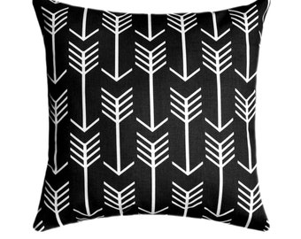 Black Arrow Pillow Cover - Any Size - Black and White Throw Pillow, Euro Sham, Cushion Cover, Black White Decor, Premier Prints Pillow Cover