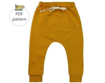 Harem pants pattern, baby harem pants sewing pattern, pdf, baby sewing pattern, toddler sewing patterns, boy sewing patterns, baby pants pdf