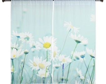 Sheer Curtains - Dancing Daisies, Daisy, Home Decor, nature photography by RDelean Designs