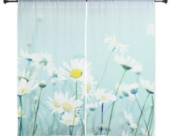 Gardinen - tanzen, Gänseblümchen, Gänseblümchen, Home Decor, Naturfotografie von RDelean Designs