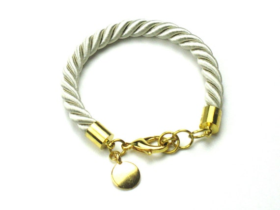 Twisted Rope Bracelet in Champagne Beige with Gold Disc Charm, Teacher Gift, Personalized Gift, Mom Gift