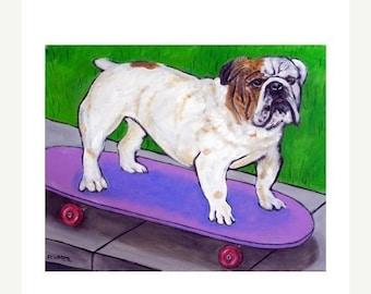 25% off bulldog art - Bulldog PRINT,  skateboarding art, dog art, dog, bulldog art, modern folk art
