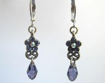 Tiny Flower Earrings, Tanzanite Purple Earrings with Briolette Teardrops, Crystal Drop Earrings, Dainty Flower Earrings, Minimalist Jewelry