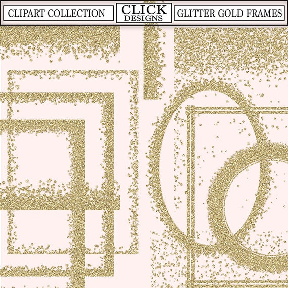 GLITTER GOLD FRAMES ClipArt Printable Glitter Gold Confetti Frames Transparent Png Invitations Overlays From ClickDesigns On