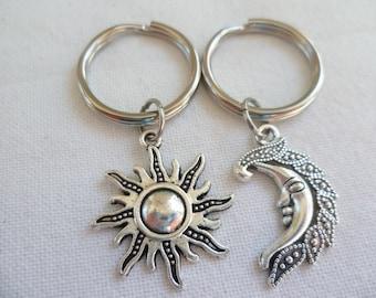 Sun,moon keyrings,sun,moon keychain,bag charm,best friends set,gift,bff,friendship gift,bag charm,sun and moon,keychain,handmade,friends set