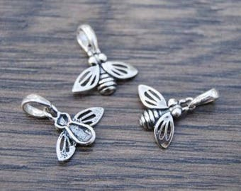Sterling Silver Bumble Bee Charm Pendant DB1H